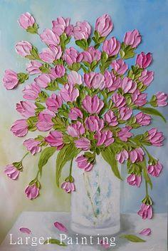 Suaves o brillantes Tulipanes en levantado impasto pintura de aceite. Seguro que te día alegrar!  Esta es una pintura de tulipán encargo hecha en aceite de impasto con hermosas flores de la superficie de la tela. Hacerte esta propia pintura para que coincida con su decoración. Pequeños cuadros también son un regalo de boda dulce o para dia de las madres! Si para el día de las madres por favor realizar sus pedidos pronto así que la pintura puede secar y haz enviado a usted en tiempo.  Nota…