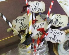 Pirate Party Paper Party Straws - Straws with tags - Choice of Straws and Ribbon Colors - Set of 18