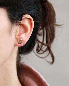 Handmade Gold plated or Triangles Stud earring ,ear cuff, Nickel Free Double Earrings, Triangle Earrings, Stud Earrings, Gold Diamond Earrings, Sapphire Earrings, Sapphire Color, Cute Jewelry, Crystal Jewelry, Etsy