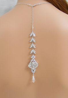 Collier de mariée de toile de fond, Back Drop collier mariage, collier en toile de fond, Bridal Jewelry, Crystal Necklace, collier Laura Bac...