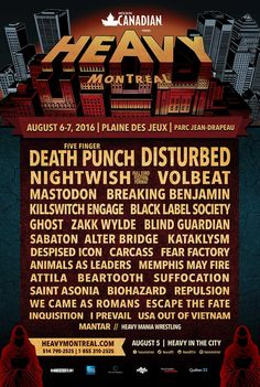 We ❤ metal. The 2016 Heavy Montreal Lineup: Mastodon, Five Finger Death Punch, Wrestling