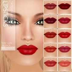 Toni lipsticks for Second Life. Like all my makeups, perfect stand alone layers that fit lots of skins and tans.  Marketplace:   https://marketplace.secondlife.com/stores/7401 www.oceanebodydesign.com http://maps.secondlife.com/secondlife/Isla%20Desirae/194/206/23