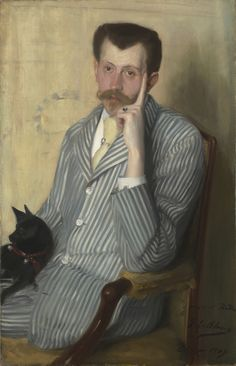 Jacques-Emile Blanche, 1861-1942. Potrait of Georges Porto-Riche, Oil on canvas, 100 cm x 65 cm. Signed, dated and dedicated lower-right 'à mon ami Rodin / J. E. Blanche / Dieppe 1889'.     http://commons.wikimedia.org/wiki/File:Georges_Porto-Riche_by_Jacques-Emile_Blanche_(1889,_priv.coll).jpg