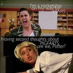 Daren Criss who played Harry Potter in A very potter musical now is on glee, mashed with Lauren Lopez as Malfoy from AVPM
