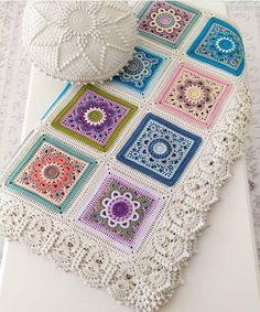Crochet Blanket with Motif (Video Tutorial) - Craft ideas Crochet Motif Patterns, Granny Square Crochet Pattern, Basic Crochet Stitches, Crochet Squares, Crochet Granny, Crochet Designs, Cross Stitches, Loom Patterns, Crochet Feather