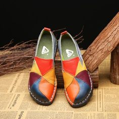 6dcbbcf4128 Handmade Leather Soft Casual Female Flats Driving Shoes