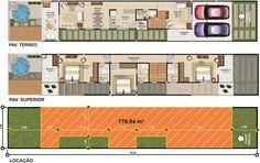 Projetar Casas   Projeto de sobrado, terreno de 5m de frente, com 3 suítes e varanda gourmet e vaga para 2 carros - Cód 34 Loft Plan, Townhouse Designs, Narrow House, Belle Villa, House Layouts, Architecture Design, House Plans, New Homes, Floor Plans