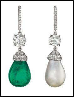 asymmetrical emerald, pearl, and diamond drop earrings