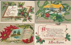 Beautiful Lot of 4 Antique Embossed Christmas Postcards-Vintage-ttt328 #Christmas