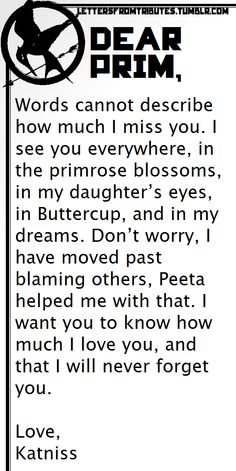 Letter Katniss to Prim