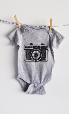 baby onesie holga camera grey by littleleestudios on Etsy