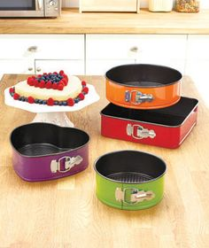 Use this Colorful Springform Bakeware Set to whip up some perfectly shaped cakes for any occasion. You get 4 sturdy, nonstick pans in different colors and shapes. The various sizes let you create tiered cakes. Once your cake is done baking, let it Cake Pan Sizes, Cooking Supplies, Lakeside Collection, Pot Lids, Colorful Cakes, Non Stick Pan, Cake Mold, Bake Sale, Cake Pans
