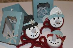 Snowman Tealights by kookies - Cards and Paper Crafts at Splitcoaststampers.    So Very cute ! :)  One can use this for inspiration seems like a good idea.