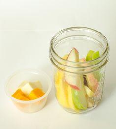 Healthy Snacks in Jars - Apple Slices + Cheese Cubes