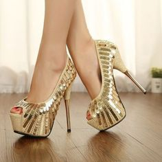 Gold Sequines Open Toe Women High Heel Shoes