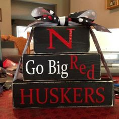 Husker Wood Block Football Home Decor Gift by FromTheMillWoodBlock, $15.95