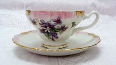 Lefton Tea Cup and Saucer Purple Flowers Pink Gold by EtagereLLC, $25.00