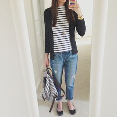 easy outfit for boyfriend jeans: stripe shirt, cardigan, and flats with stripe backpack