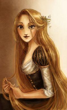 "Black for a change by Arbetta.deviantart.com on @deviantART - Rapunzel from ""Tangled""."