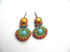Summertime  soutache earrings by Bajobongo on Etsy, $25.00