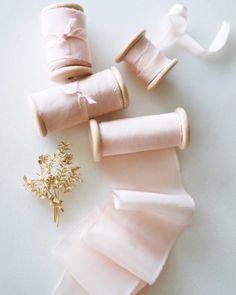 BLUSH - Hand Dyed Habotai Silk Ribbon - inches width - 5 metres or metres - wedding bouquet, invitations, weddings Ribbon Bouquet, Blush Bouquet, Wedding Centerpieces, Wedding Decorations, Garden Wedding Inspiration, Embroidery Bracelets, Pink Silk, Blush Pink, Silk Ribbon