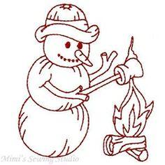 Redwork Snowmen Set, 10 Designs - 5x7 | Winter | Machine Embroidery Designs | SWAKembroidery.com Mimi's Sewing Studio