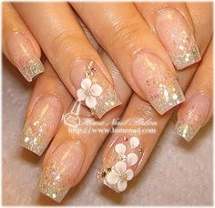 Beautiful design on clear nail polish, floral, flowers, and studs to give impression of petals, really nice! Fabulous Nails, Gorgeous Nails, Trendy Nails, Cute Nails, Fancy Nails, Les Nails, Bridal Nail Art, Wedding Nails, Glitter Nails