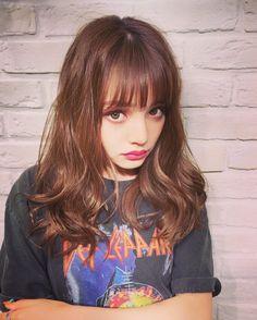 #ちぃぽぽ #❤️ Beautiful Girl Wallpaper, Pretty Girls, Bangs, Asian Girl, Hairstyle, Kawaii, Long Hair Styles, Iphone, Makeup