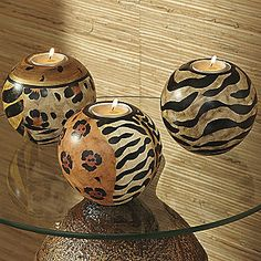 New dining room decor is gonna be safari!! animal print candle orbs