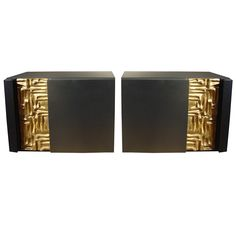 Bedside Cabinets - Dramatic black with detailed gold finish designs....gorgeous.  Pair of Cinthia bedside cabinets by Frigerio