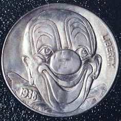 Clown Hobo Nickel carved by Dick Sheehan on a 1938 coin Hobo Nickel, Coin Art, Old Coins, Macabre, Carving, Clowns, Cactus, Sad, Happy