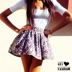 This outfit is super adorable🎀. I love the plain white tshirt and the high waisted patterned skirt just adds to the outfit to make it so stunning Cute Fashion, Teen Fashion, Womens Fashion, Fashion Pics, Fashion Skirts, Dress Fashion, Fashion Clothes, Fashion Ideas, Fashion Images