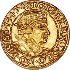 Danzig. Sigismund I gold Ducat 1547crowned and armored bust of Sigismund right