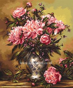 Buy Vase of Peonies Cross Stitch Kit Online at www.sewandso.co.uk