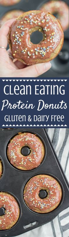 Looking for an easy, high protein treat? These Clean Eating Protein Donuts are the perfect healthy snack for those who have a serious sweet tooth! Made with simple ingredients, they're gluten and dairy free while being totally delicious! #healthy #protein | healthy donuts | protein donuts | healthy dessert | protein powder dessert | donuts | protein packed dessert | desserts with protein powder