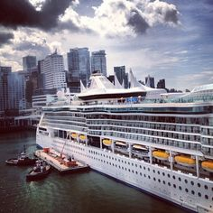 Cruise ship docked at Canada Place as seen from Helijet via @Miss604