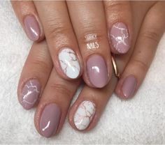 Nude white rose Gold Marble nails
