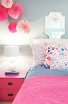 Hanging Paper Lanterns Over Nightstand. Traci Zeller Bubbly Fabric!
