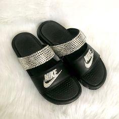 3349e09361f5 Bling nike benassi duo slides- crystal nikes flip flops- sparkly sandals-  bling flip flips- crystal