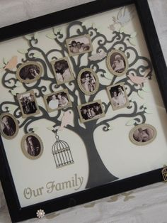 Family Tree Picture Frames, Family Tree Frame, Family Trees, Wooden Shadow Box, Shadow Box Frames, Tree Box, Bird Tree, The Giving Tree, Photo Tree