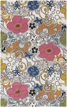 Surya's 'Goa' G-85 groovy floral area rug in white/multi
