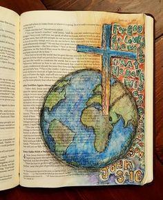 Bible Art Journaling Challenge Participant Roundup Interview - Rebekah R Jones Art Journaling, Bible Study Journal, Scripture Art, Bible Art, Bible Verses, Faith Bible, My Bible, Bible John, Diy Inspiration