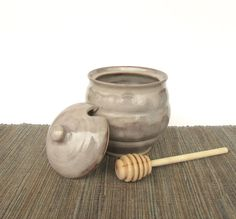 3 x 5 Inches;  Hand Crafted in Canada !!! Pottery Honey Pot; Wooden Dipper; Ironstone; Approx
