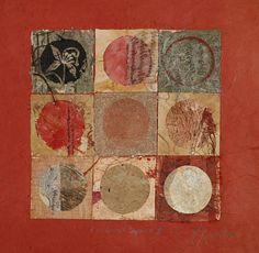 Meredith Russell - Circle and Square  Adelaide, South Australia  Abstract Assemblage / Collage  23.2 x 23.6 x 1 in  Paper, Soft (Yarn, Cotton, Fabric), Cardboard, Other