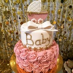 Project Nursery - Pink and Gold Baby Shower Cake