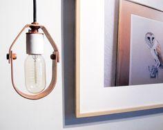Minimal Copper & Porcelain Pendant  plug in por BrooksideBungalow, $76.00