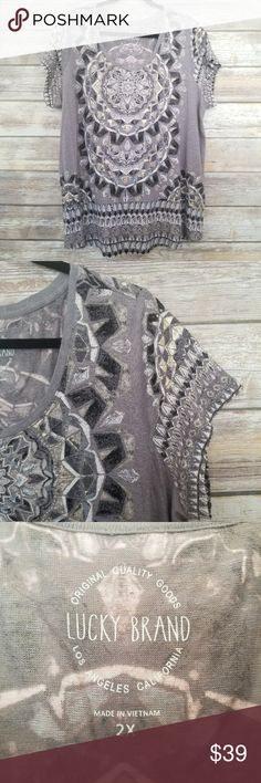 Lucky Brand Grey Metallic Printed Top 2x Plus Lucky Brand Short Sleeve Top Scoop neckline  Grey tee with silver & gold metallic accent mandala designs Size 2x Plus Excellent condition No trades Lucky Brand Tops Tees - Short Sleeve