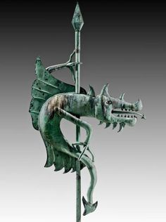 The unique Dragon weathervane from the Warren Bank building, circa 1890, Warren, Pa, copper, 6 feet 10 inches tall, sold by us to a private collector in 2011. Photo by David Schorsch Antiques