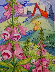 """""""Moonlit Foxgloves Storybook Cottage Series""""  © Alida Akers"""
