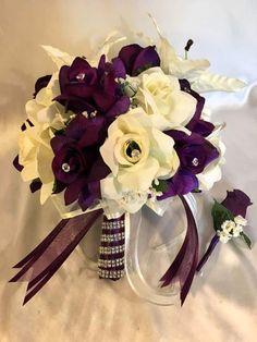 Round Wedding Bridal Bouquet Package Plum Purple ivory Tiger Lily Silk Rose 21pc  | eBay